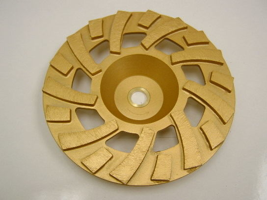 Golden Sintered Fan Diamond Turbo Cup Wheel , Concrete Grinding Cup Wheel